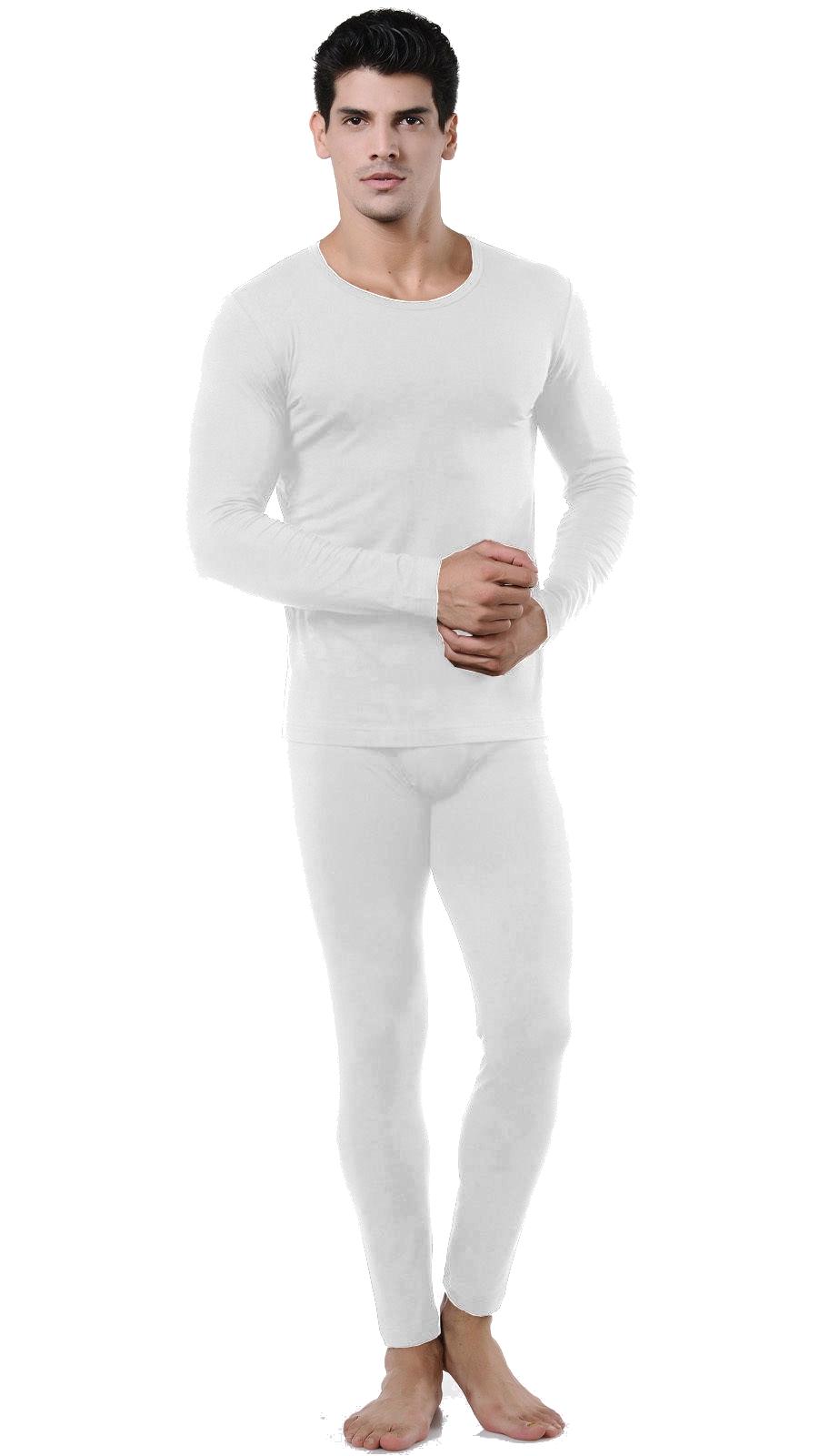 Wuhou® Men's Ultra-Soft Microfiber White Thermal Underwear Set ...