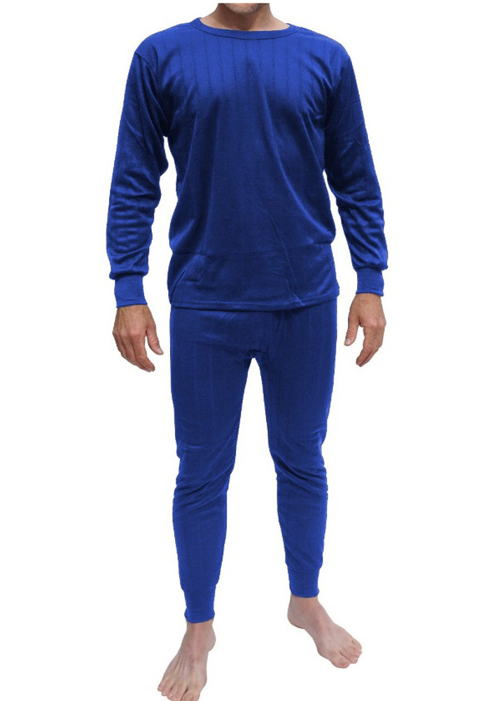 Mens 100 Cotton Brush Fleece Lined Thermal Top Bottom
