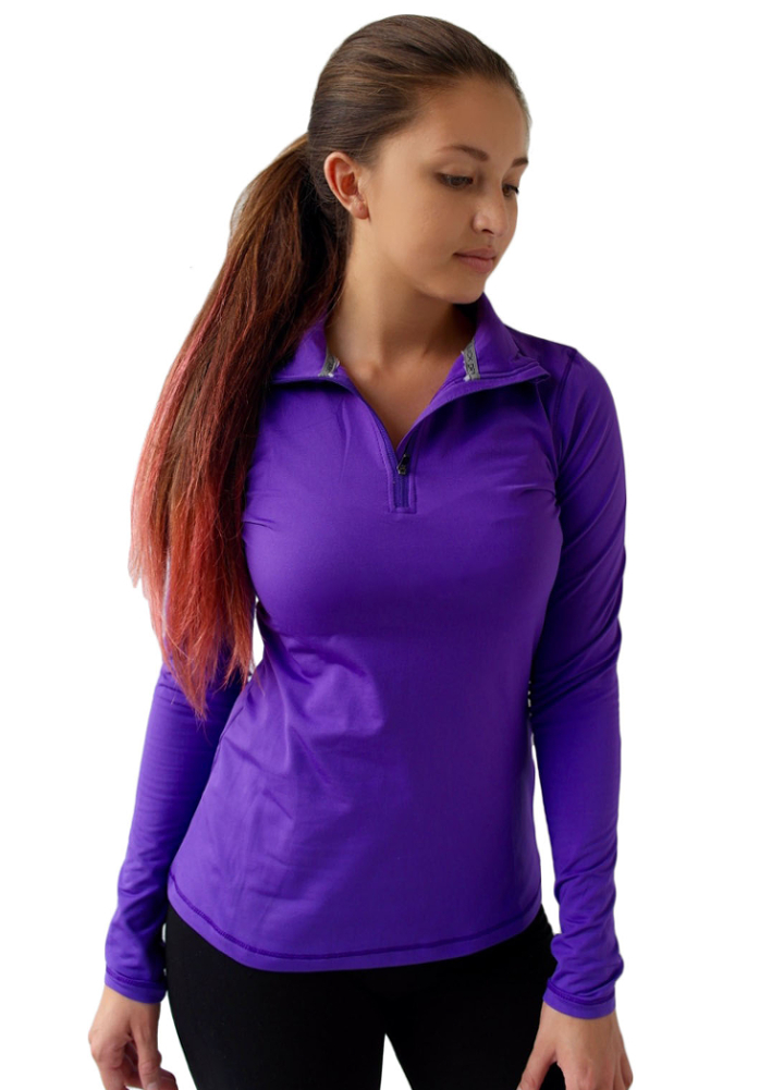 9m women 39 s performance athletic half zip fleece lined for Zip front flannel shirt