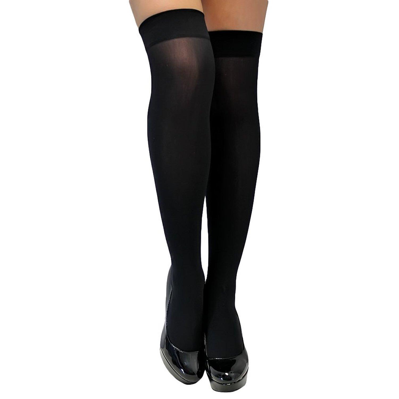 8dc44f042 Isadora Paccini Women s Black Semi Opaque Thigh High Stockings ...