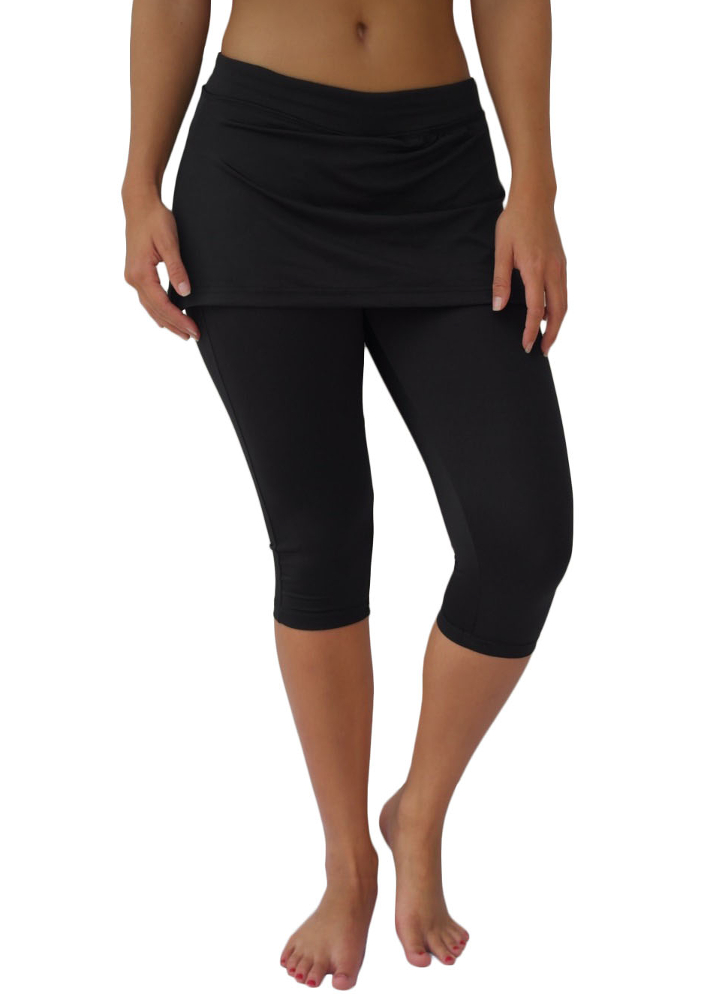 4d067b9849090 Necessity® Women's Athletic Yoga Capri Leggings with Attached Skirt (Skort)