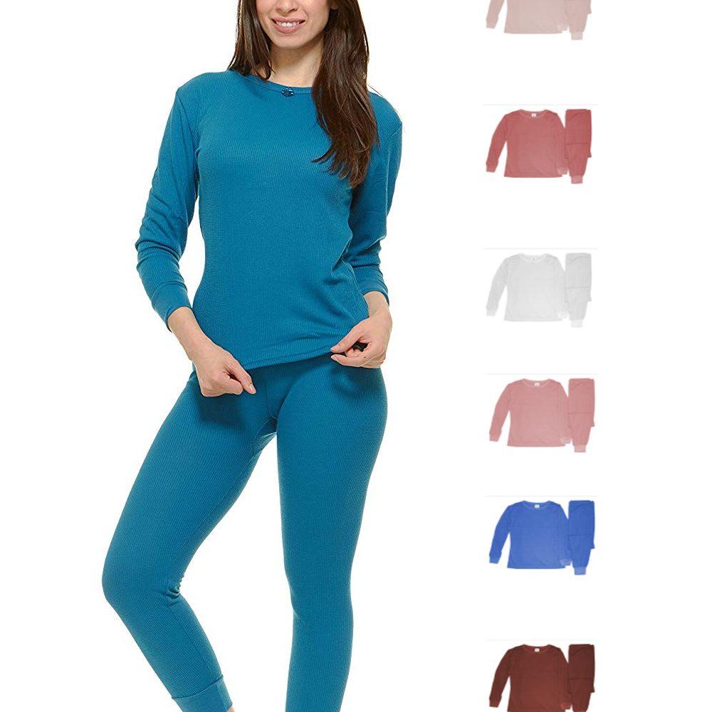 ddd00b301aa8 Women's 100% Cotton Light Weight Waffle Knit Thermal Top & Bottom Long John  Underwear Set